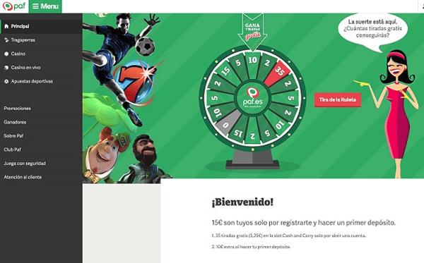 paf casino bono bienvenida