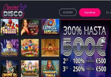 Obtenga un 300% hasta por 500 euros en primer depósito Casino Disco